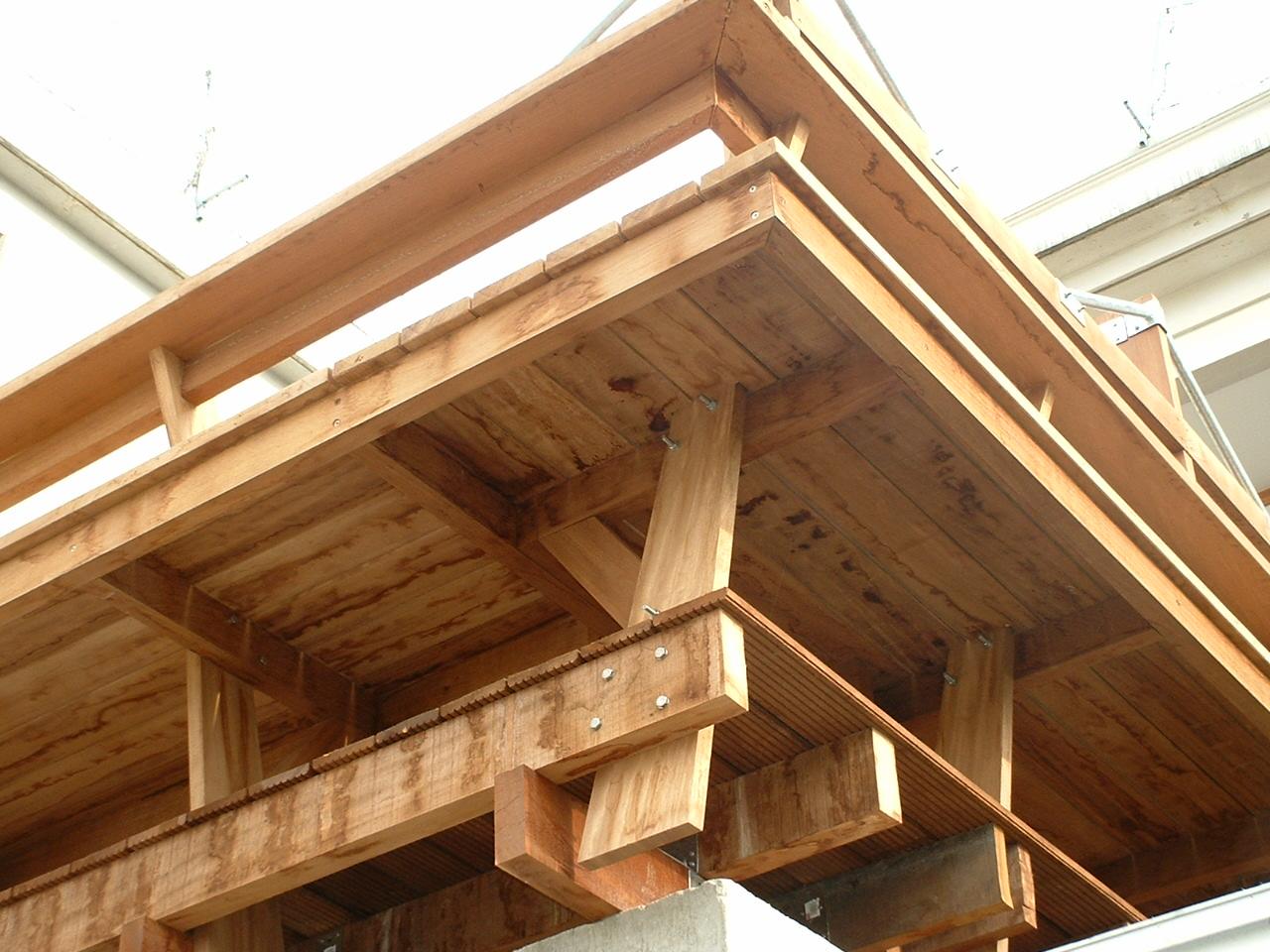 Ossature bois d'une terrasse